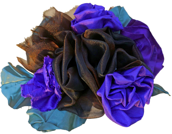 Purple & Brown Chiffon Rose Bouquet