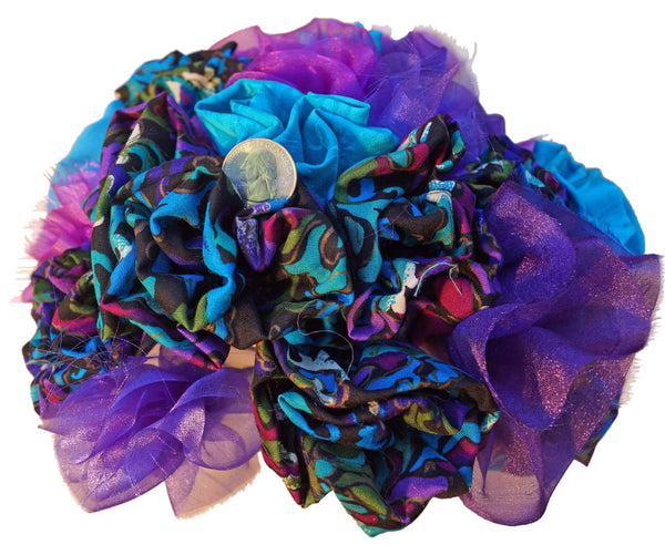 Purple & Teal Rayon Rose Bouquet