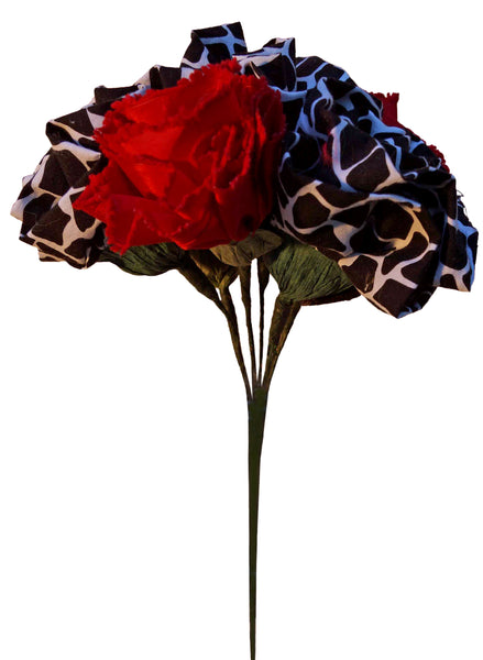 Red Carnations and B&W Giraffe Roses