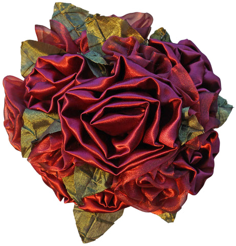 Red Satin & Organza Rose Bouquet