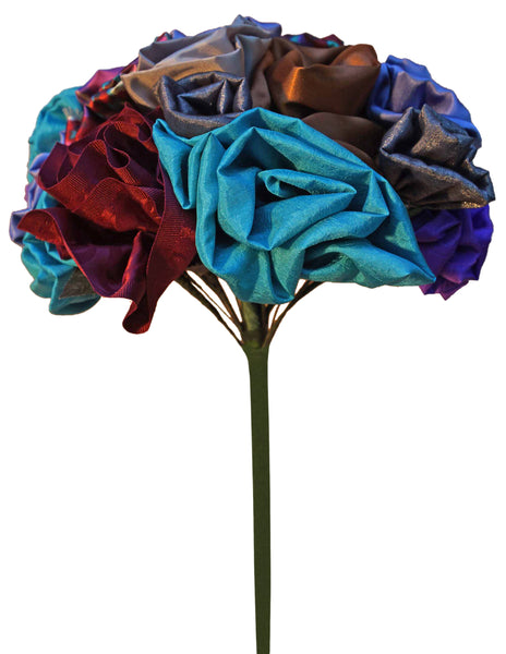 Red, Turquoise & Silver Rose Bouquet