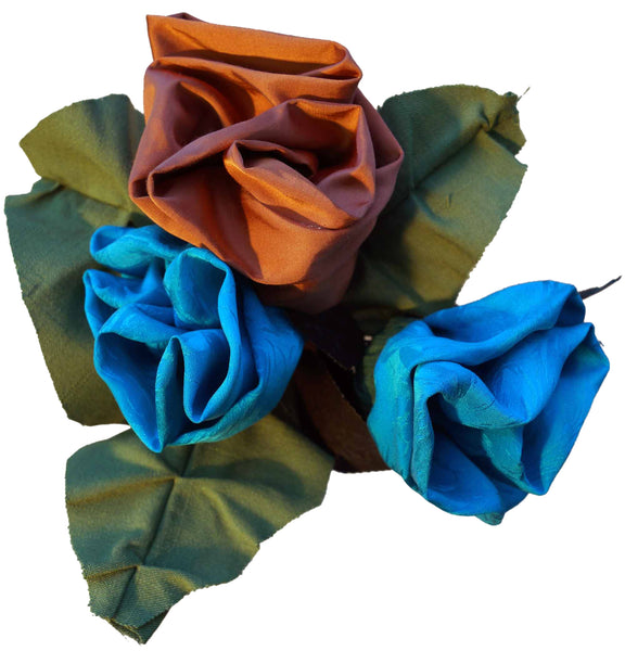 Turquoise & Copper Silk Rose Bouquet