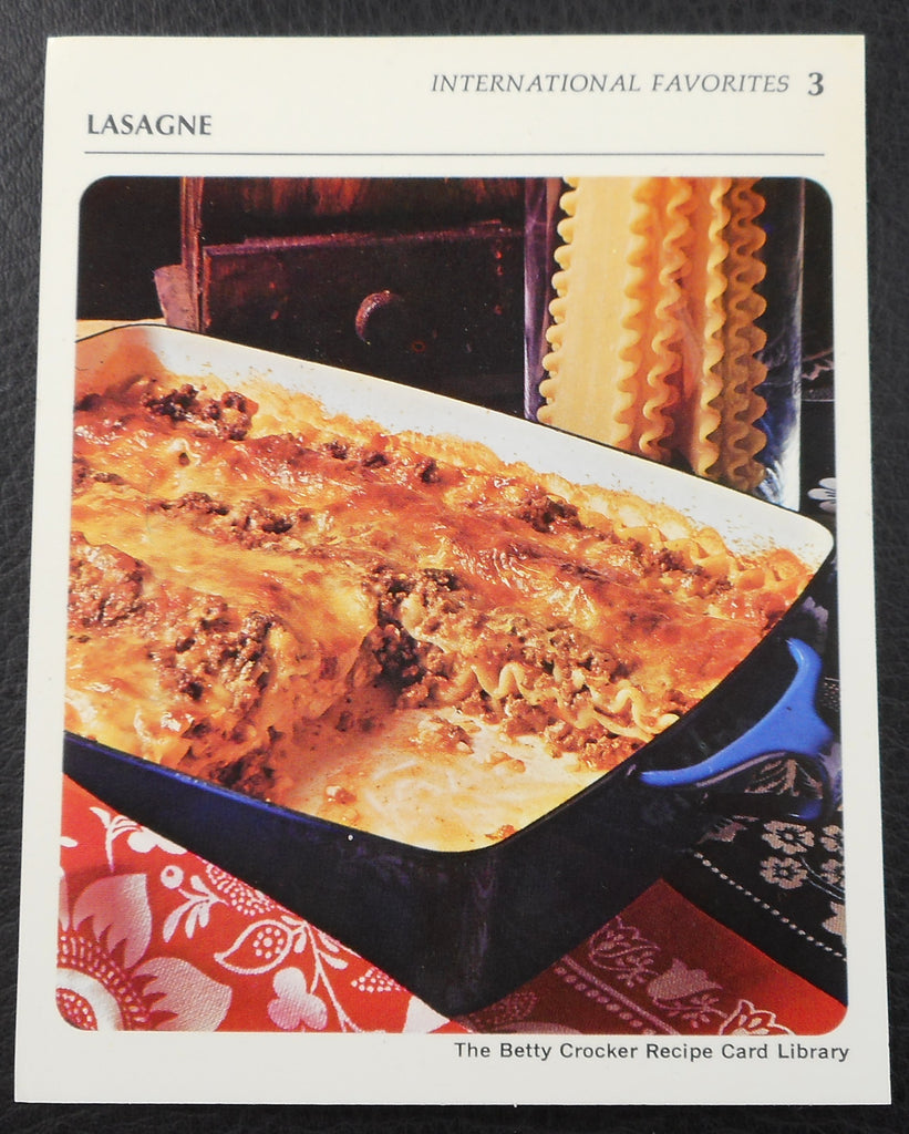 1971 Betty Crocker Recipe Library Card - Blue Dansk Lasagna Pan