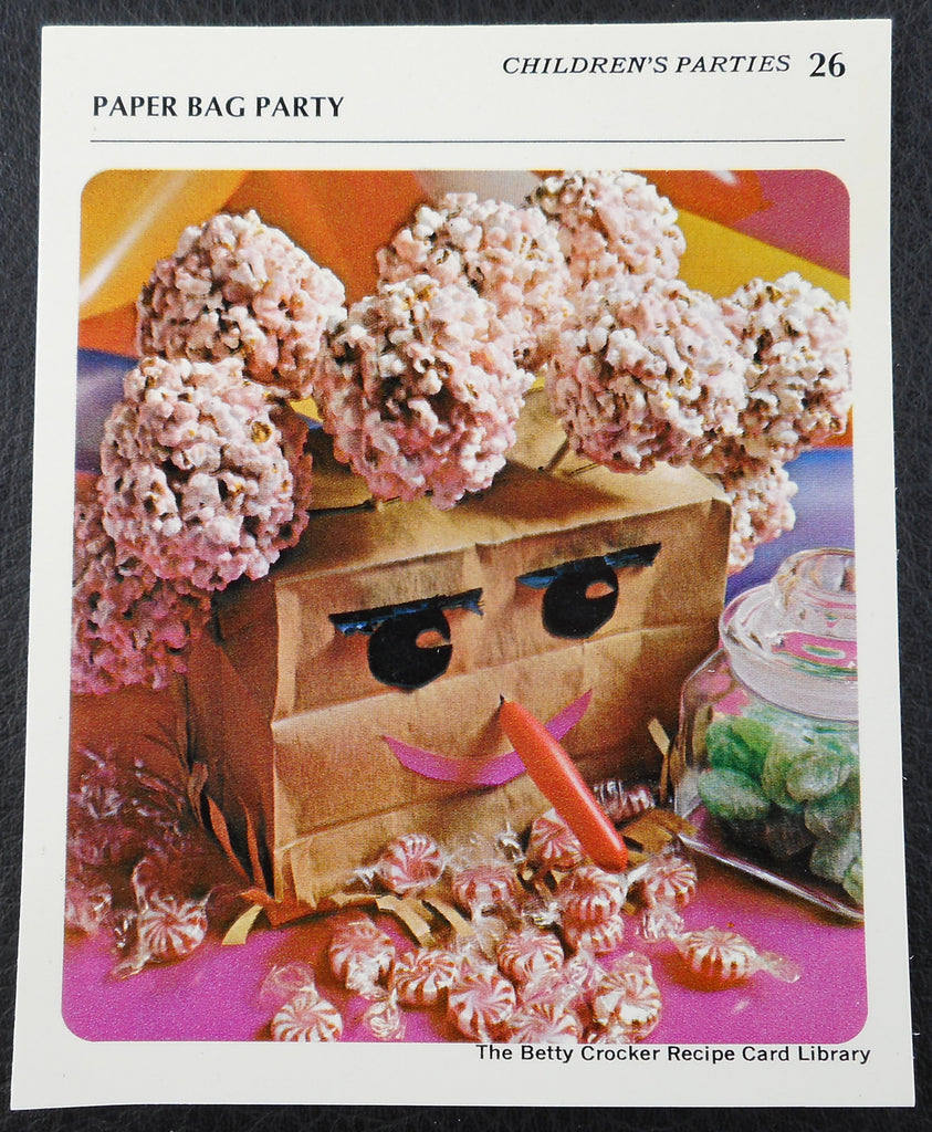 1971 Betty Crocker Recipe Card - Children's Paper Bag Party Popcorn Balls