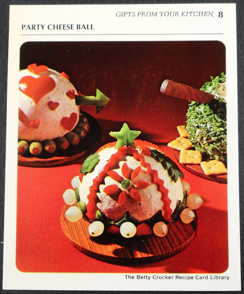 Vintage Cheesy Christmas Ball Party Food - 1971 Betty Crocker Recipe Card