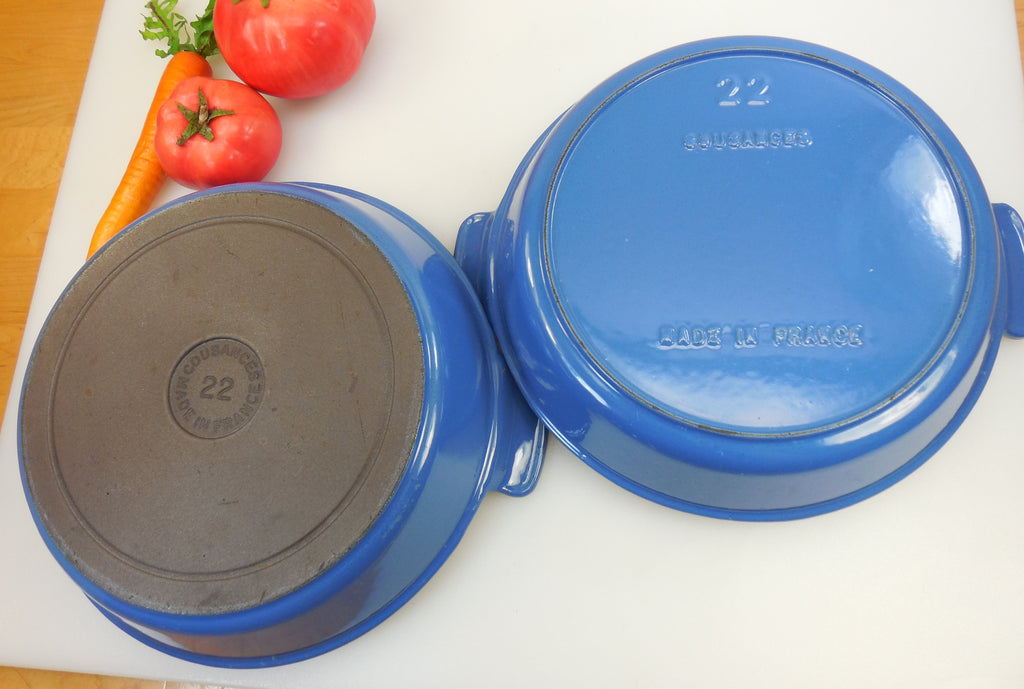 2 Different Bottoms for Cousances France Cookware - Iron and Blue Enameled #22 Round Gratin Pans