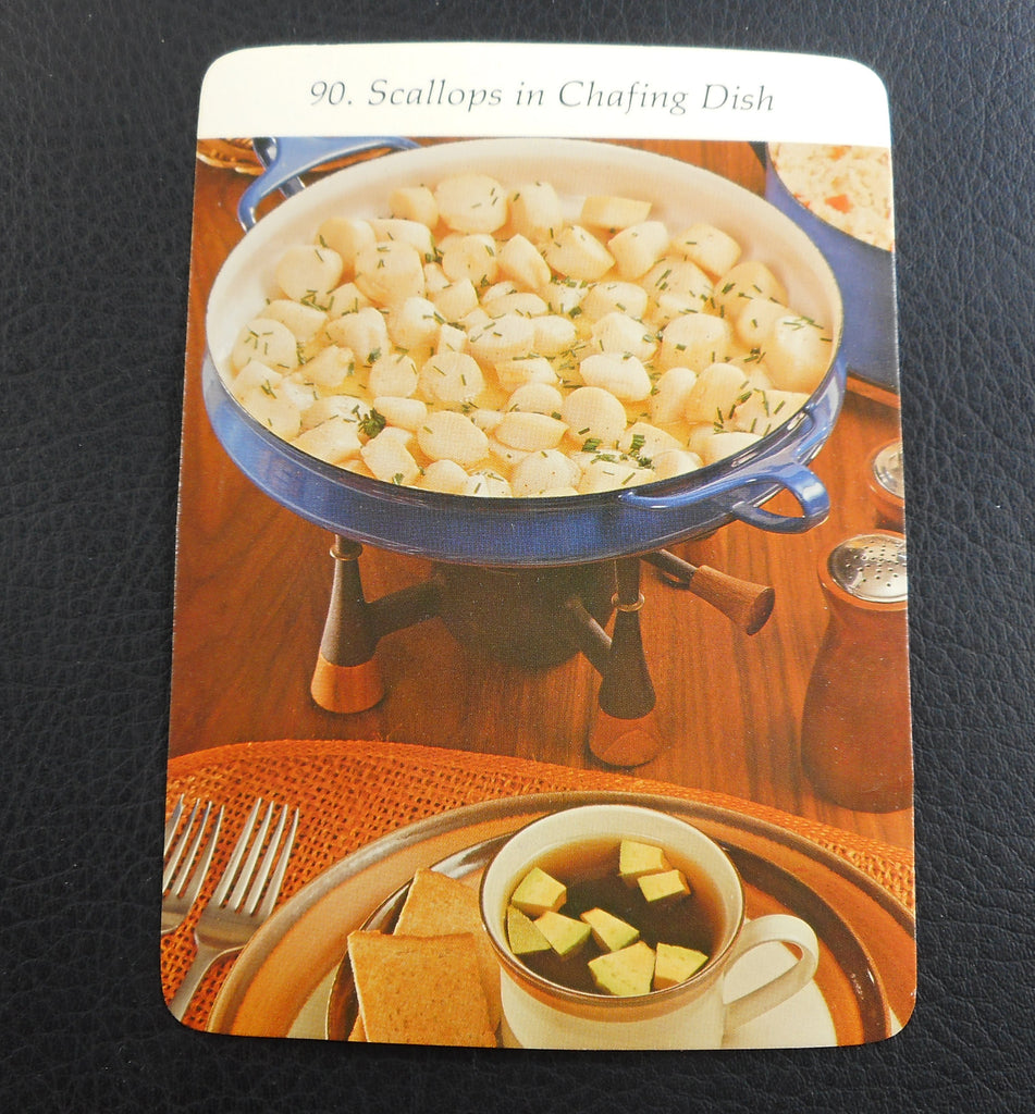 Vintage 1972 Dansk Casserole Paella Blue Pan Recipe Card - Scallops