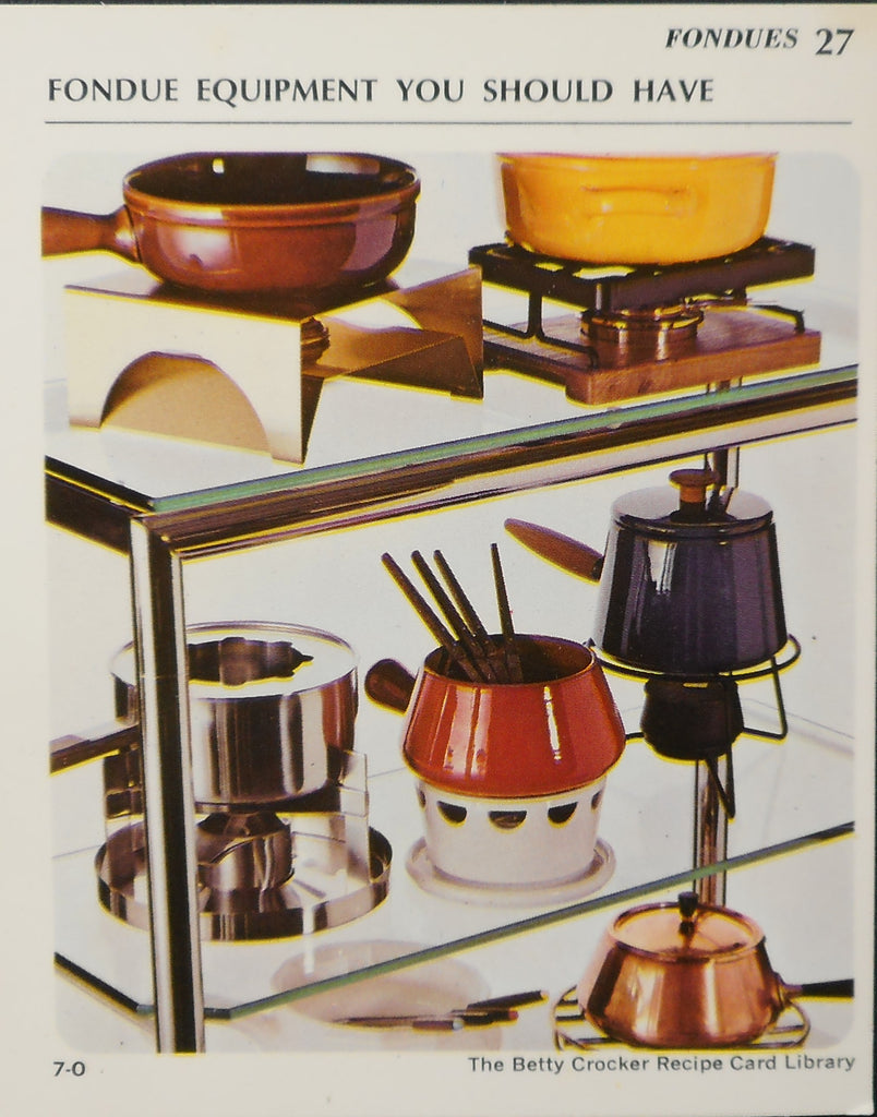1970's Betty Crocker Recipe Card - Fondue Equipment You Should Have