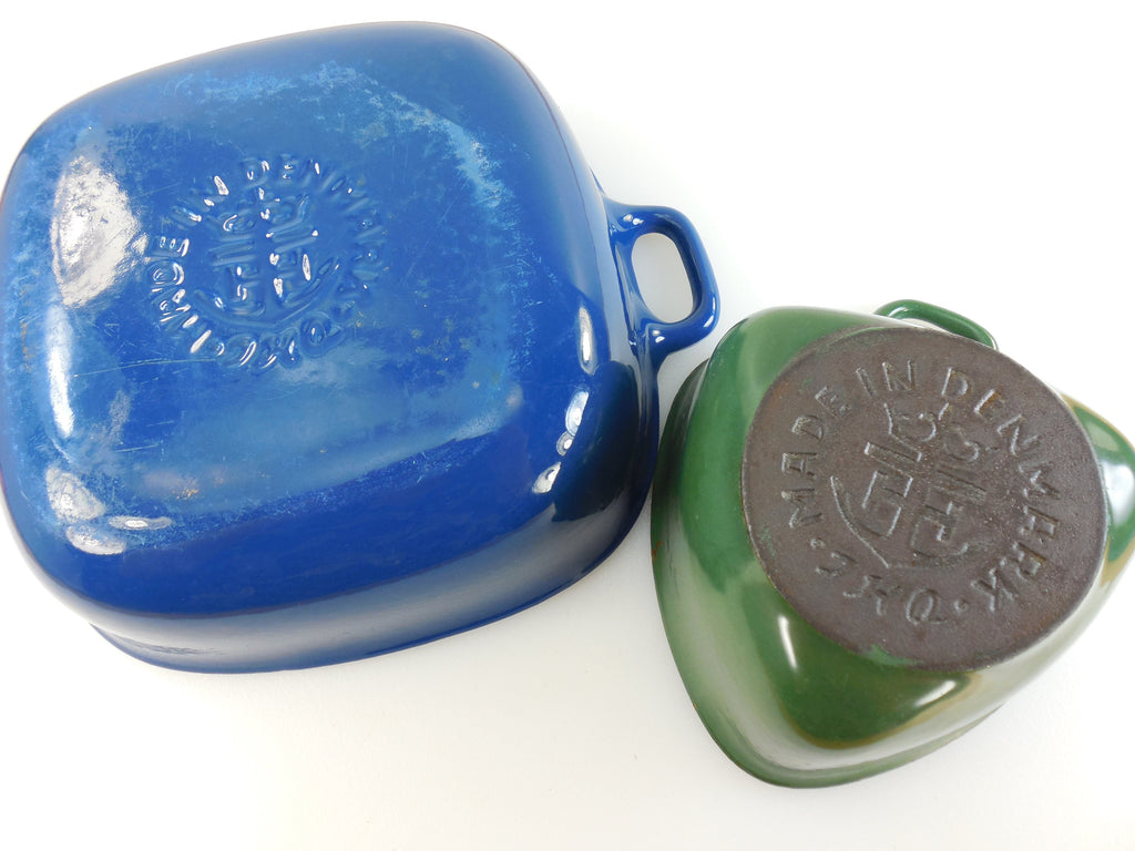 1950s Anker Denmark Cookware by Jens Quistgaard... Maker Logo Mark on Iron and Enamel Bottoms