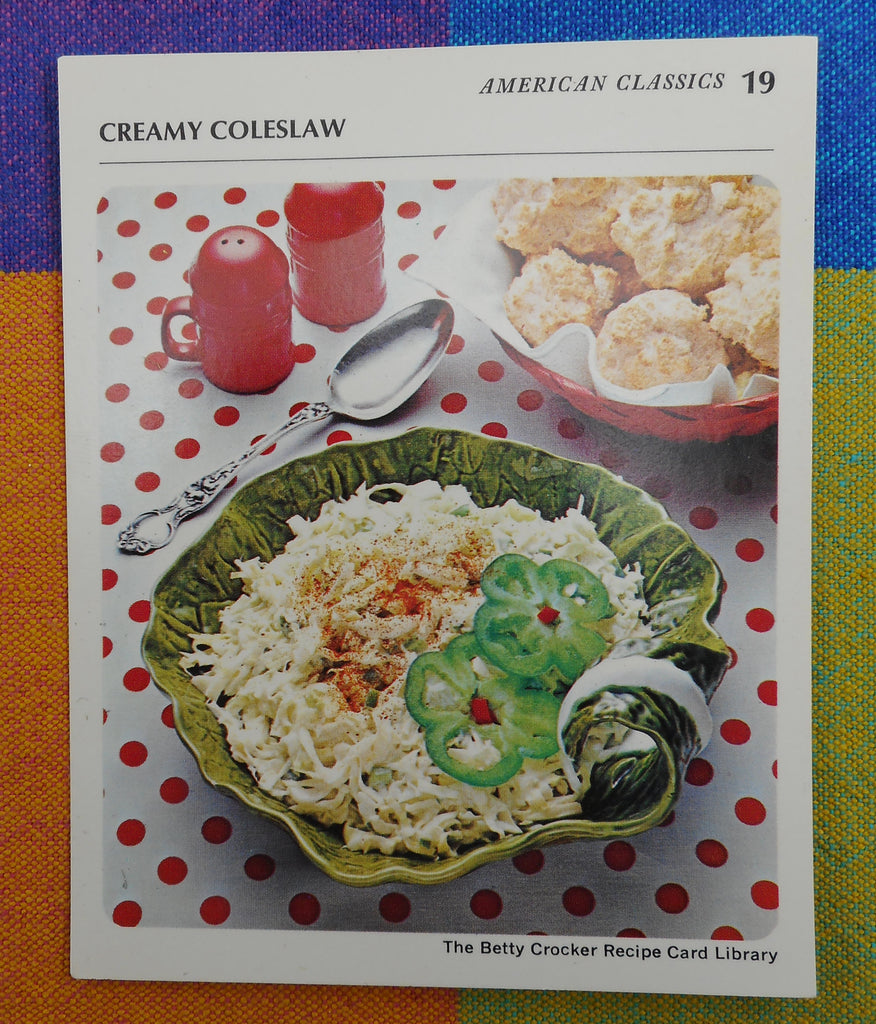 "1971 Betty Crocker Recipe Card - ""Creamy Coleslaw"" Bordallo Pinheiro Type Leaf Bowl"