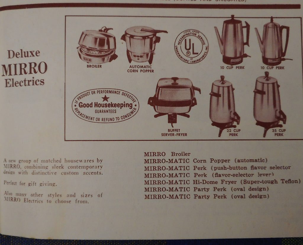 Vintage advertisement for Deluxe Mirro-Matic electric appliances circa 1971