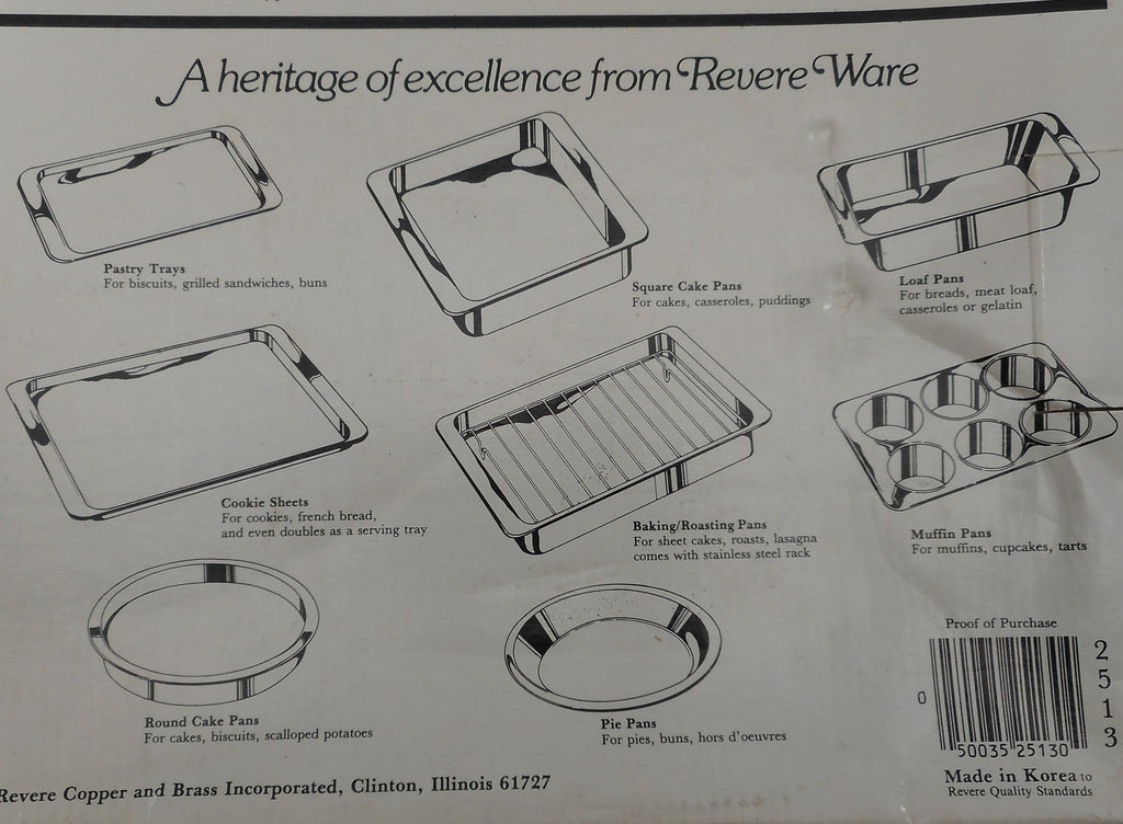 Revere Ware Stainless Steel Bakeware 1980-90' Products Guide List