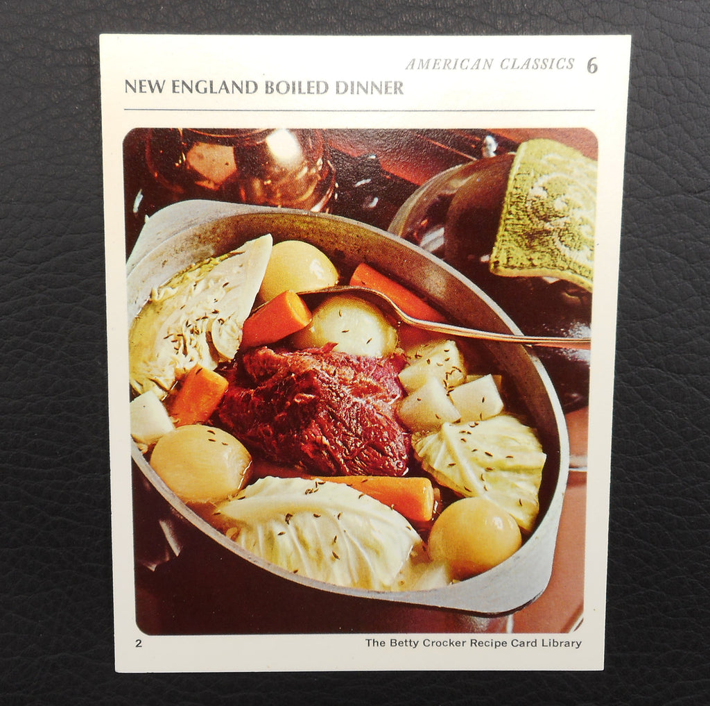 General Mills 1971 Recipe Card - New England Boiled Dinner in Aluminum Roaster