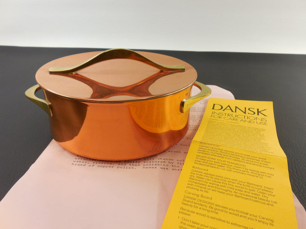 1960s Dansk Quistgaard Copper Cookware - Original Label & Instructions