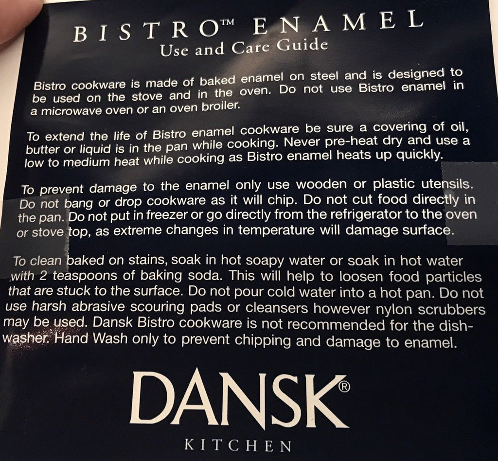 Dansk Bistro Enamelware Cookware - Use and Care Instructions