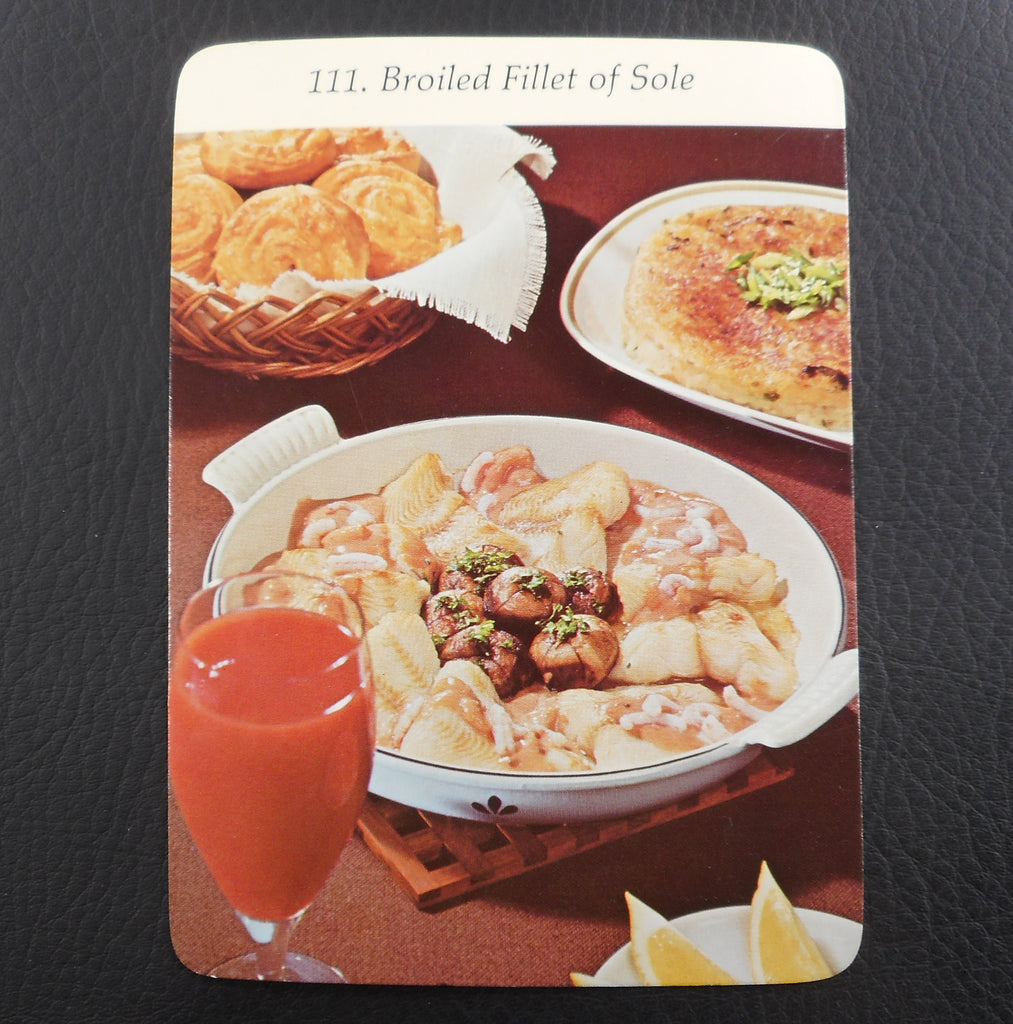 Vintage 1972 Dru Holland Round Au Gratin Recipe Card - Broiled Sole