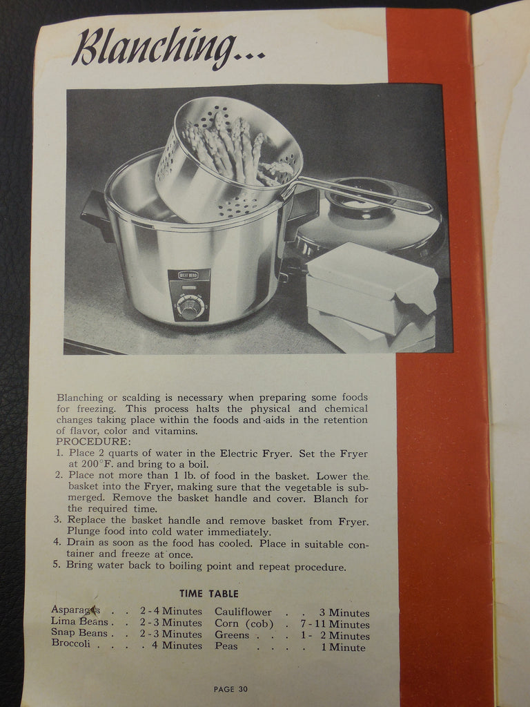 1953 West Bend Electric Cooker Fryer - Blanching Instructions - Model 3265E