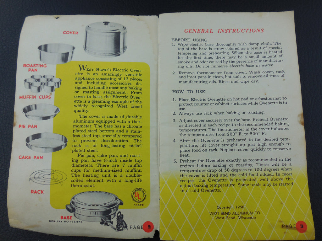 1950 West Bend Electric Ovenette General Instructions