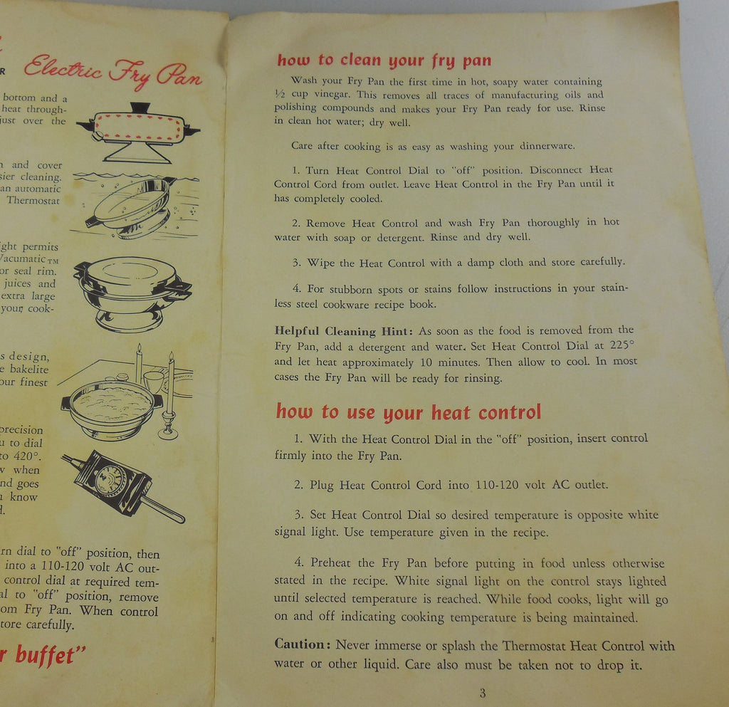 Vollrath No. 24 Electric Skillet Instructions for Cleaning & Heat Control Probe