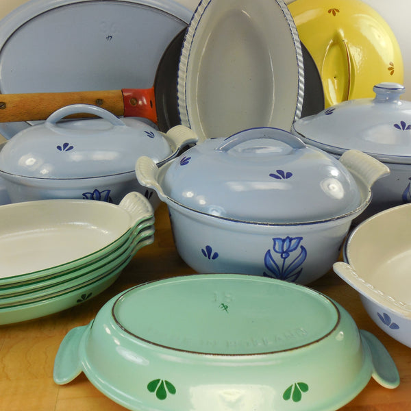 Dru Holland cast iron tulip cookware for sale, shop, buy... vintage mid century