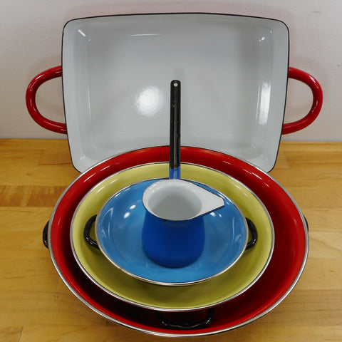 Cookware Collection - Enamelware Enamel Steel Cast Iron - Vintage