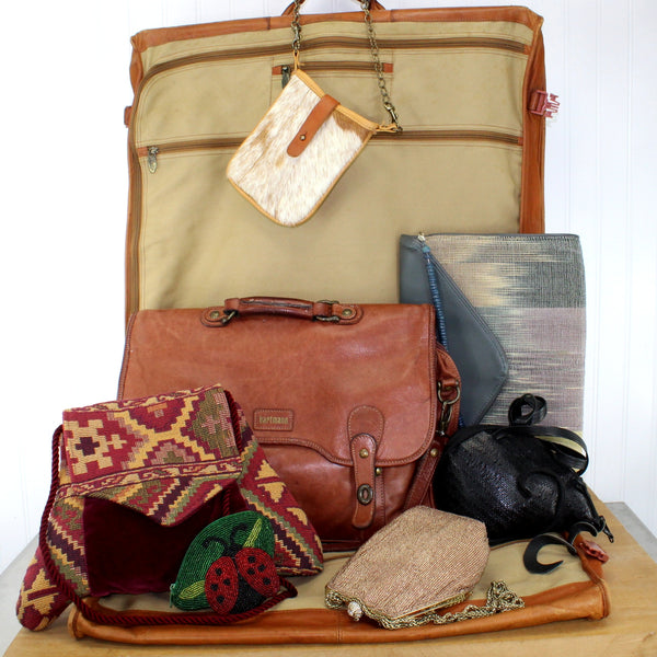 Vintage used items to carry other items - luggage, suitcase, briefcase, backpacks , garment bags, duffle bags, etc.