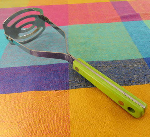 Ace USA Stainless Steel Masher Utensil Lime Green Bakelite Handle