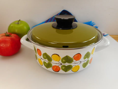 Austria Email Cookware 1.75 Quart Casserole Pot Lid Saucepan Avocado Green Yellow Orange
