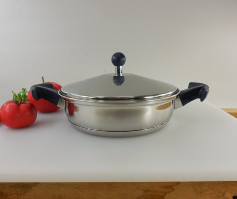 Vintage Aeternum Italy - Stainless Saucier Sauce Pan Pot with Lid - Blue Handles - Disc Heavy Core Bottom