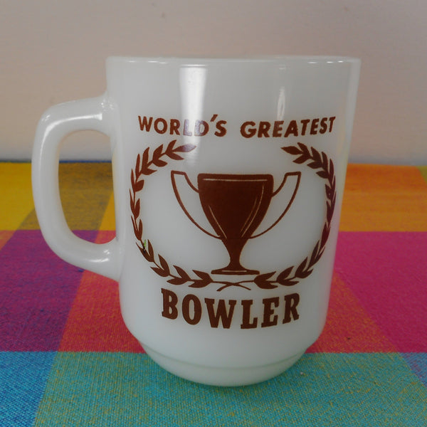 Anchor Hocking Vintage Glass Mug - World's Greatest Bowler - Brown White