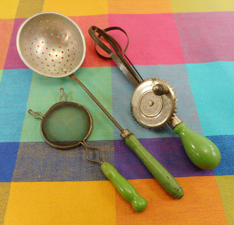 A&J Egg Beater, Strainer, Dipper 1920s Utensils Sea Foam Jadeite Green Wood