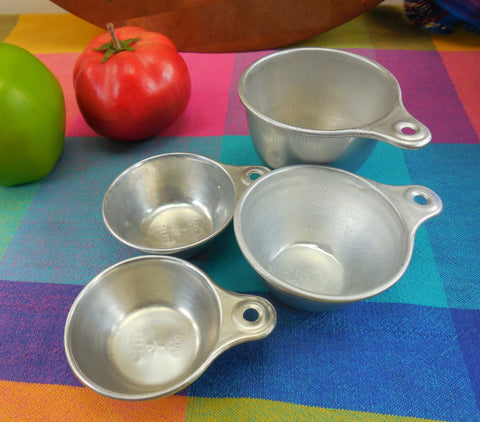 SOLD... Ekco Aluminum Measuring Cups Nesting 4 Set - Vintage Farm House Country Kitchen Utensil Tool