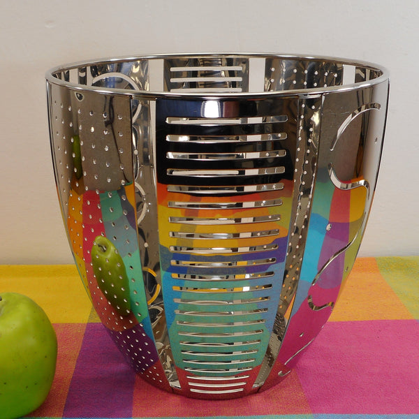 Alessi Italy Helmut Citrus Fruit Basket Mirror Stainless Steel 1992