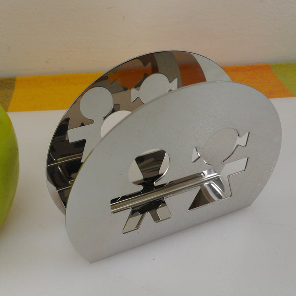 Alessi Girotondo Paper Napkin Holder Mirror Stainless AKK51 - Boy Girl Man Woman