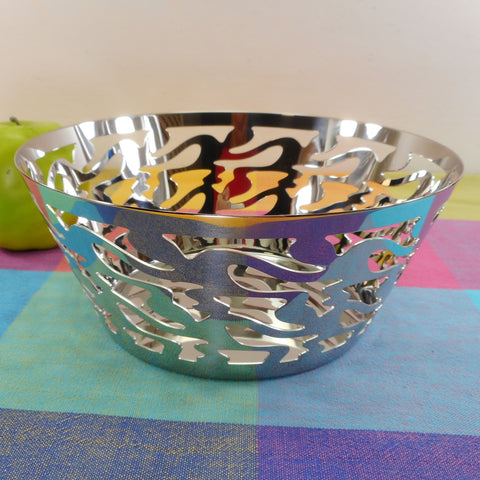 Alessi Italy Ethno Medium Basket/Bowl Stainless Steel