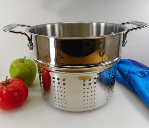 "All-Clad USA Stainless 8"" Steamer Pasta Insert for Stock Pot Used"