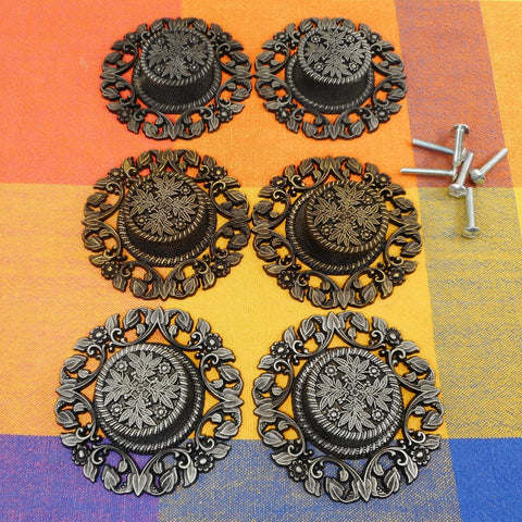 Allison Japan NOS Vintage Black Gold Silver Provincial Drawer Knob Escutcheon Plates - Set of Six