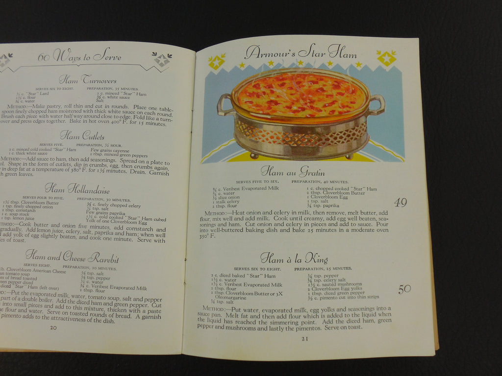 1930s Recipe Book - 60 Ways to Serve Star Ham - Armour & Co. Chicago