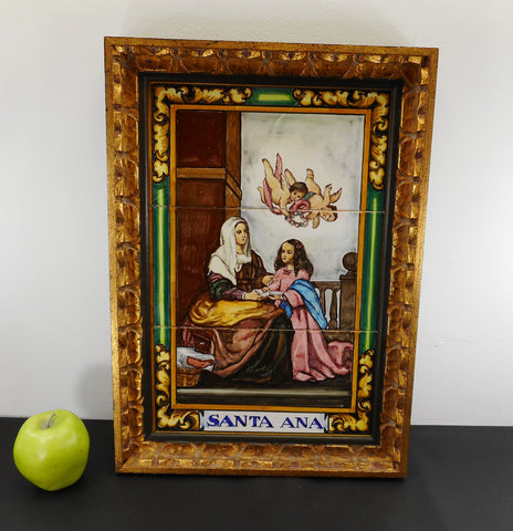 Saint Anne Santa Ana & Virgin Mary Italian Gold Framed Art Tiles - Vintage Religious Art