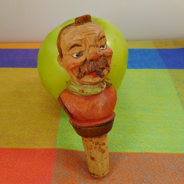 ANRI Italy Vintage Hand Carved Painted Bottle Stopper - Man with Cigar