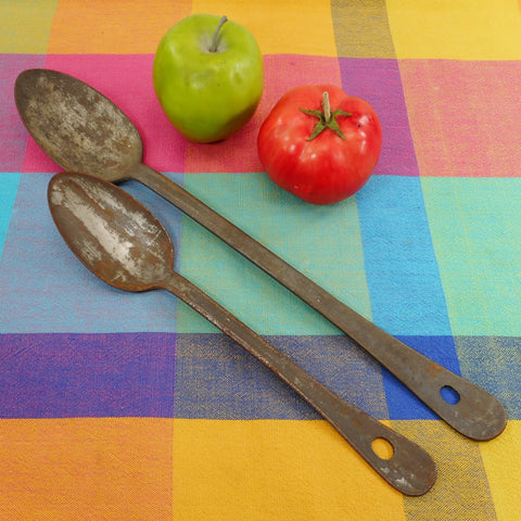 "Antique Pair Tinned Iron Mess Spoons Institutional Military Farmhouse 11.5"" 15.5"""