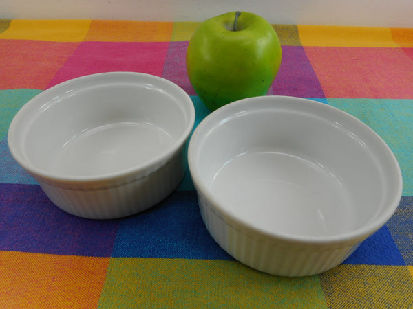 "Apilco France Classic Whiteware Pair 4-3/4"" Ribbed Ramekin Custards - Unused ""New"""