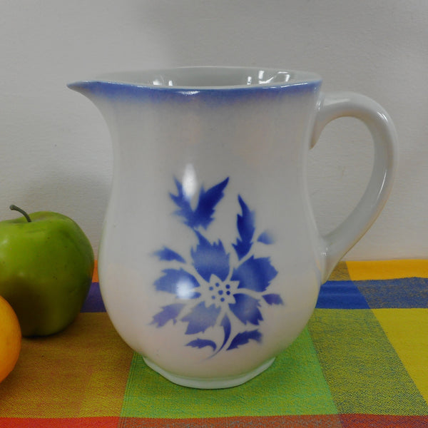 Arabia Finland Porcelain Milk Pitcher Blue Airbrush Flower