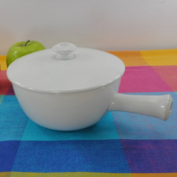 Arabia Finland All White Lidded Bowl Pot with Stubby Handle