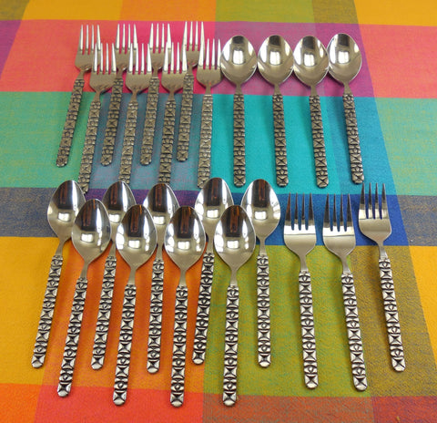 Aristocrat Japan 24 Pieces Stainless Flatware - MCM Brutalist Black Geometric