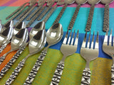 Aristocrat Japan 24 Pieces Stainless Flatware - MCM Brutalist Black Geometric Spoons