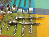 Aristocrat Japan 24 Pieces Stainless Flatware - MCM Brutalist Black Geometric Two Sides