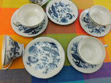 Arnart Japan - 5 Blue Onion China Cups and Saucers - Crossed Arrow Mark.. top view