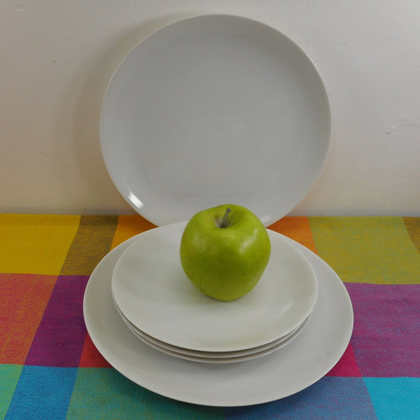 Arzberg Germany Minimalist Modern White China - 2 Dinner Plates 3 Salad Plates