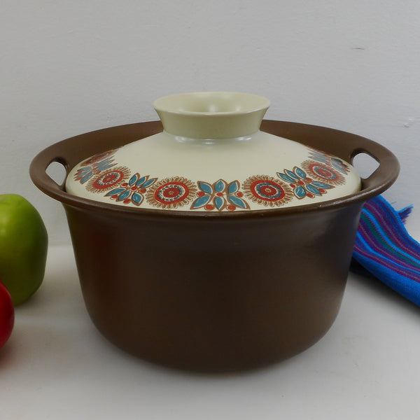 Flint Figgjo Norge Norway Flameware Astrid - Covered Casserole Brown Flowers